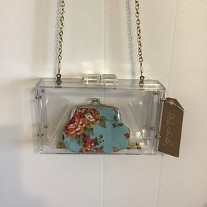 Clear boxy Acrylic crossbody W/coin purse NWT